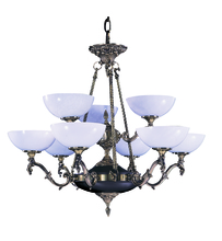Framburg 8409 FB - 9-Light French Brass Napoleonic Dining Chandelier
