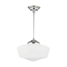 Sea Gull 65439BLE-05 - Fluorescent Extra Large Academy One Light Pendant in Chrome with Satin White Schoolhouse Glass