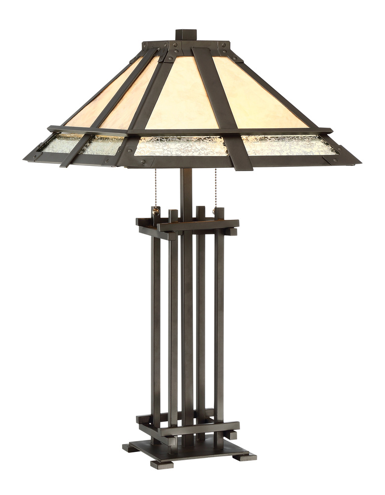 Table Lamp   Dark Bronze/Mica Shade, E27 Type A 60Wx2