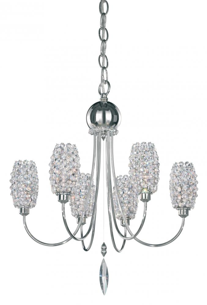 Dionyx 6 Light 110V Chandelier in Stainless Steel with Clear Spectra Crystal