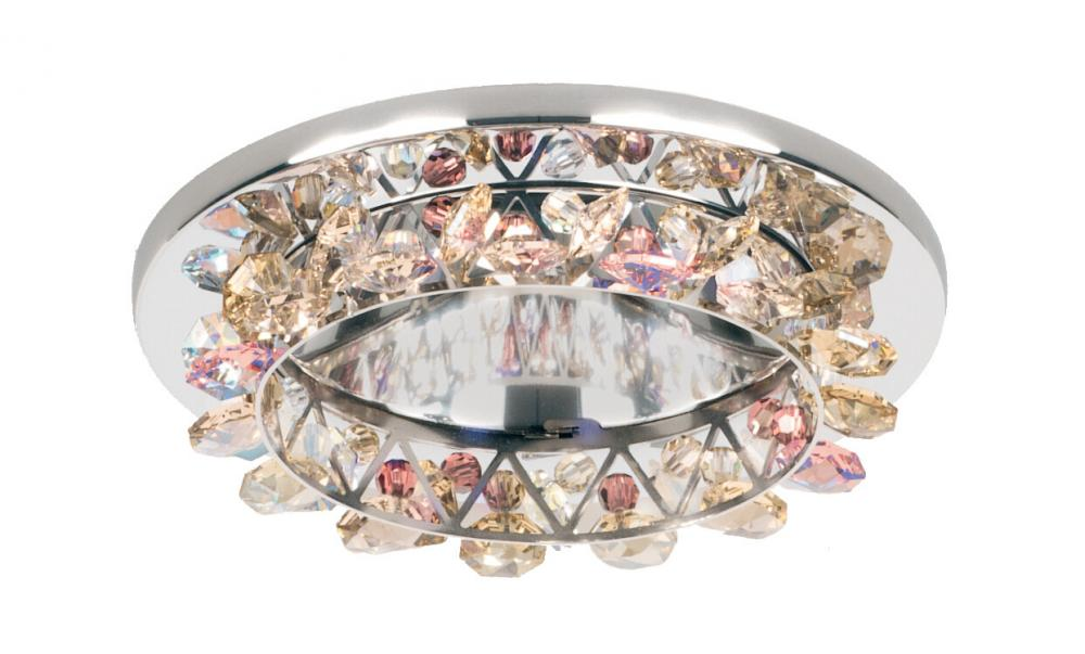 Vertex 1 Light LOW VOLT Recessed in Stainless Steel with Clear Spectra Crystal