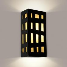 A-19 RE110-BG-WF-GU24 - Grid Wall Sconce Black Gloss and White Frost (GU24 Base Socket (Bulb not included))