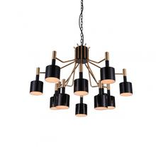 Crystal World 1017P32-12-129 - 12 Light Matte Black Down Chandelier from our Corna collection