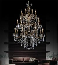 Crystal World 2039P40AB-24 - 24 Light Antique Brass Up Chandelier from our Brass collection