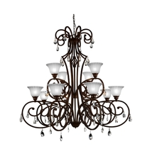 Crystal World 9805P46-12-113 - 12 Light Dark Bronze Candle Chandelier from our Shakira collection