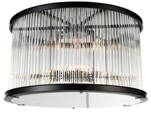 Crystal World 9861C20-6-101 - 6 Light Black Cage Flush Mount from our Mira collection