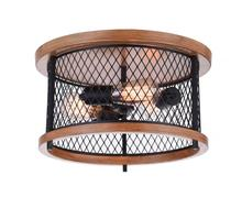 Crystal World 9960C15-3-101-A - 3 Light Black Cage Flush Mount from our Kayan collection