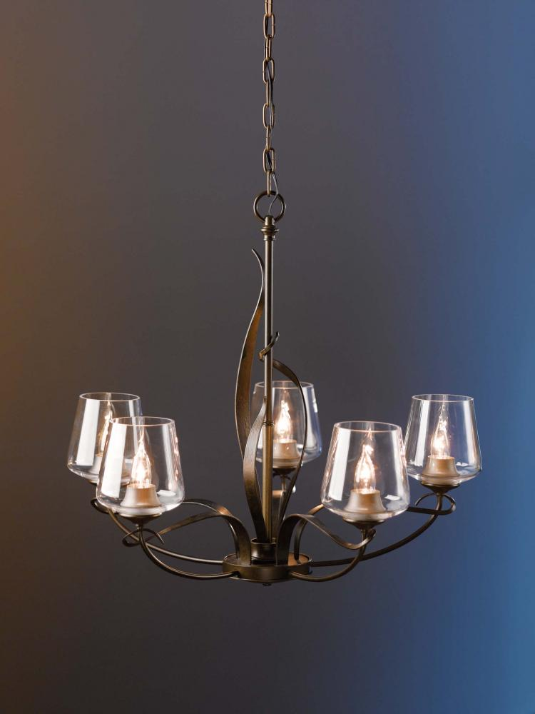Main Line Lighting & Design in Paoli, Pennsylvania, United States, Hubbardton Forge 103040-SKT-03-GG0236, Flora 5 Arm Chandelier, Flora