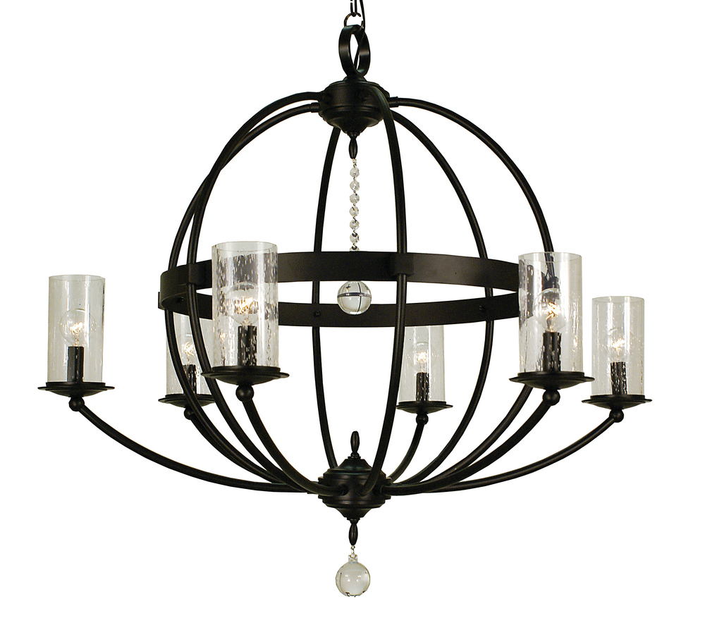 6 Light Brushed Nickel Compass Foyer Chandelier