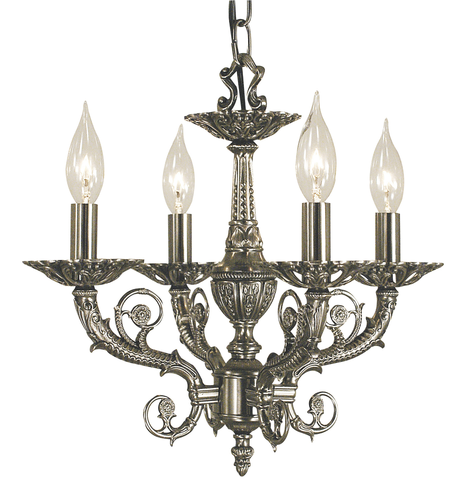 4-Light French Brass Napoleonic Mini Chandelier
