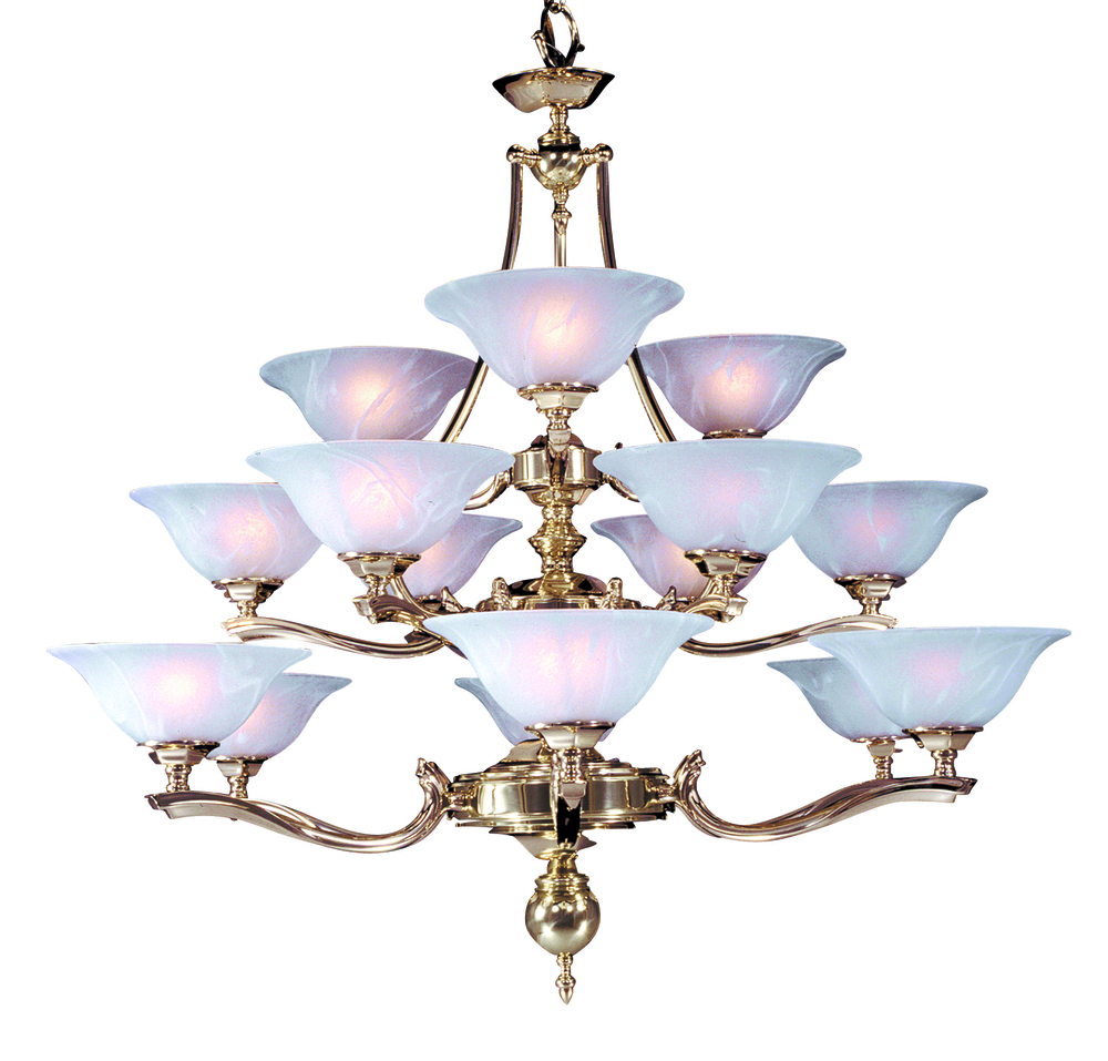 15-Light Polished Brass Fin De Siecle Foyer Chandelier