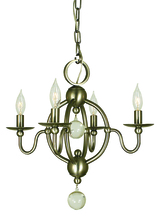 Framburg 1159 AB - 4-Light Antique Brass Quatrefoil Mini Chandelier