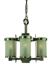 Framburg 4434 AB/F - 4-Light Antique Brass/Frosted Glass Hammersmith Chandelier