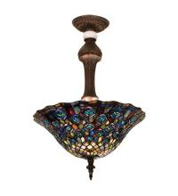 "Meyda Tiffany 31101 - 20""W Tiffany Peacock Feather Semi-Flushmount"